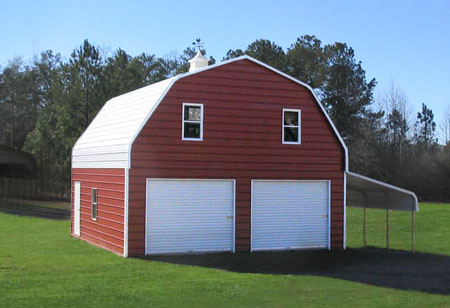 Metal garages sheds and storage buildings custom built for Barn with living quarters kits