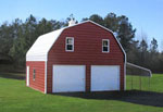 Red metal barn with 3/4 loft
